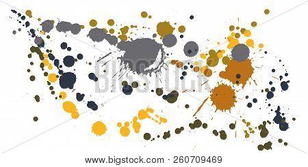 Watercolor Paint Stains Grunge Background Vector. Decorative Ink Splatter, Spray Blots, Dirt Spot El