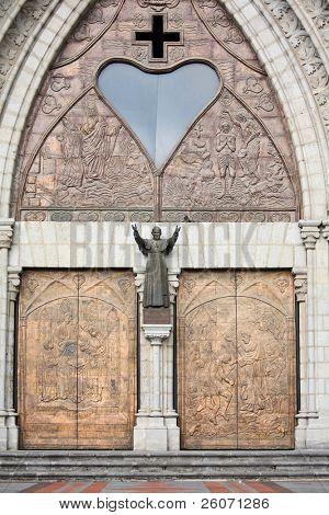 Basilica del Voto Nacional in Quito, Ecuador with Statue of Pope John Paul II