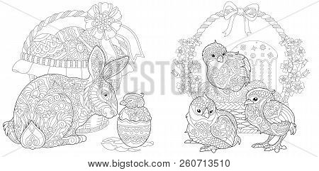 Easter. Coloring Pages. Coloring Book For Adults. Colouring Pictures With Bunny And Chickens Drawn I