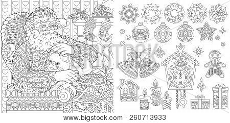 New Year. Christmas. Coloring Pages. Coloring Book For Adults. Colouring Pictures With Santa Claus D