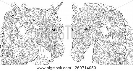 Coloring Pages. Coloring Book For Adults. Colouring Pictures With Fantasy Girl And Unicorn Horse Dra