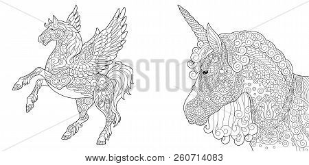 Coloring Pages. Coloring Book For Adults. Colouring Pictures With Unicorn And Pegasus Horse. Antistr