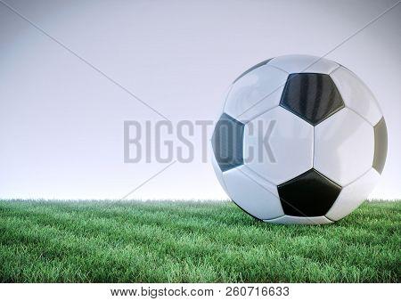 Glossy Soccer Ball On Grass Field - 3d