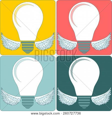 Creative Light Bulb. Collection Of Design Elements. Stock Flat Vector Illustration.