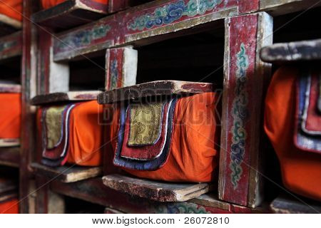 Library in Buddhist monastery - sacred texts