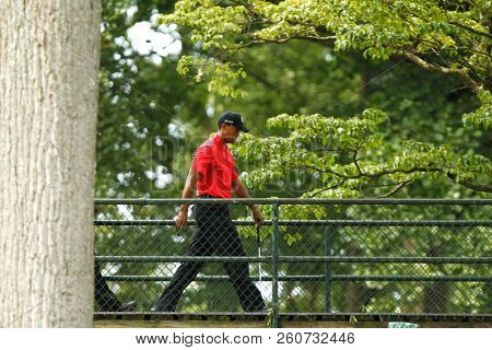 BETHESDA, MD-JUL 1: Tiger Woods walks over a bridge to the 9th green during the final round of the AT&T National at Congressional Country Club.
