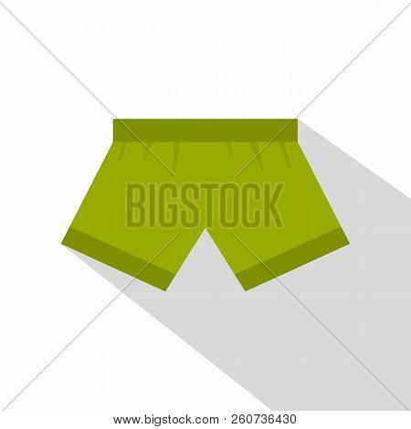 Green Man Boxer Briefs Icon. Flat Illustration Of Green Man Boxer Briefs Icon For Web Isolated On Wh