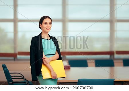 Business Woman Ceo Holding A Folder In Conference Room