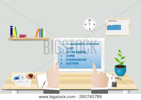 Lean Manufacturing 5s Methodology Concept Showing Manager In His Workplace Holding Tablet With 5s Me