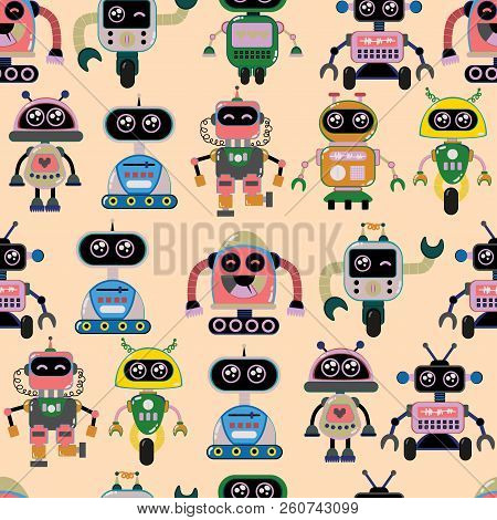 A Cute, Small, Friendly Blue With A Red Robot, With Antennas And Wires, Kind Vintage Eyes And Comic
