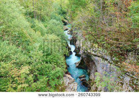 Velika Korita Or Great Canyon Of Soca River, Bovec, Slovenia. Beautiful Vivid Turquoise River Stream