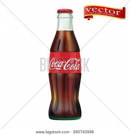 St. Petersburg, Russia, September 30, 2018. Illustration Of Bottle Of Coca-cola. Editorial Use Only.