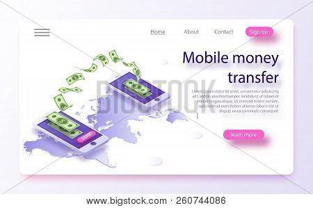 Mobile Money Transfer Isometric Vector Illustration. Money Transfer From And To Wallet In Isometric