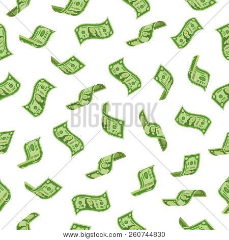 Money Rain. Falling Dollars Denominations, Raining Cash Banknotes Or Flying Dollar Banknote. Wealth