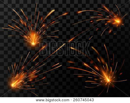 Realistic Fire Sparks. Spark Flow Of Steel Welding Or Metal Cutting Work. Electrical Explosion Spark