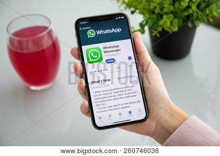 Alushta, Russia - September 24, 2018: Woman Holding Iphone X With Social Networking Service Whatsapp