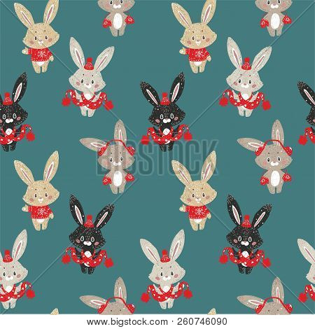 Seamless Vector Pattern With Cute Bunny In Scarf And Hat. Can Be Used For Wallpaper, Pattern Fills,