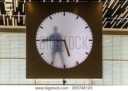 Amsterdam, Netherlands - May 28, 2017: The Schiphol Airport Real Time Schiphol Clock, By Maarten Baa