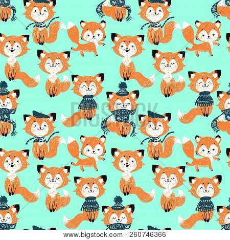 Seamless Vector Pattern With Cute Foxes In Scarf And Hat. Can Be Used For Wallpaper, Pattern Fills,
