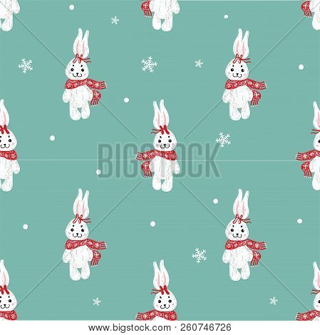 Seamless Vector Pattern With Cute Bunny In Scarf . Can Be Used For Wallpaper, Pattern Fills, Web Pag