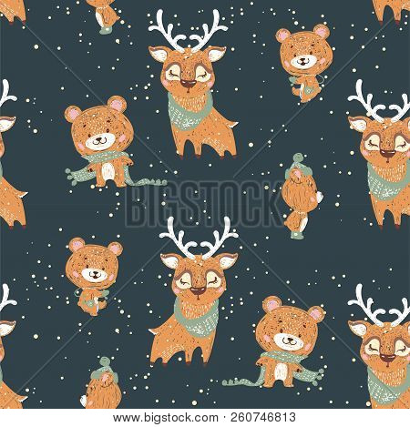 Seamless Vector Pattern With Cute Bunny, Deer And Bear In Scarf And Hat. Can Be Used For Wallpaper,