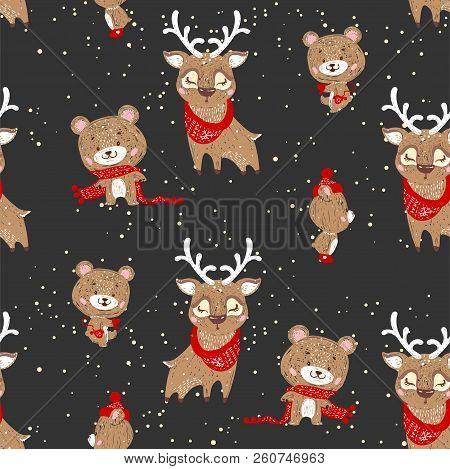 Seamless Vector Pattern With Cute Deer And Bear In Scarf And Hat. Can Be Used For Wallpaper, Pattern