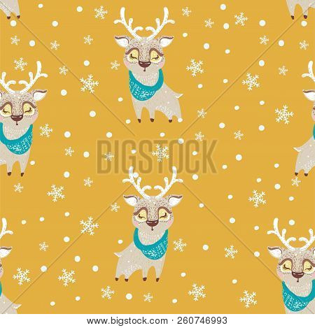 Seamless Vector Pattern With Cute Deer In Scarf. Can Be Used For Wallpaper, Pattern Fills, Web Page