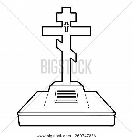 Christian Grave Icon. Outline Illustration Of Christian Grave Icon For Web