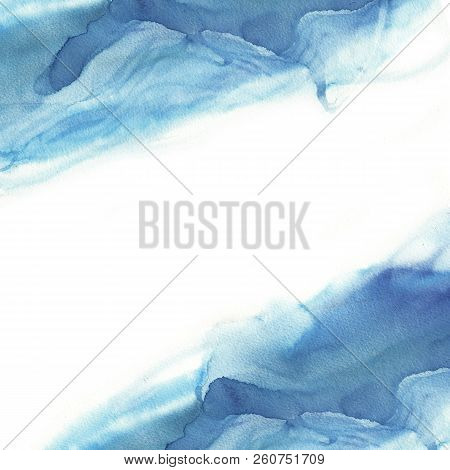 Rectangle Background Of Abstract Blue Watercolor Wave On White Background. The Color Splashing In Th