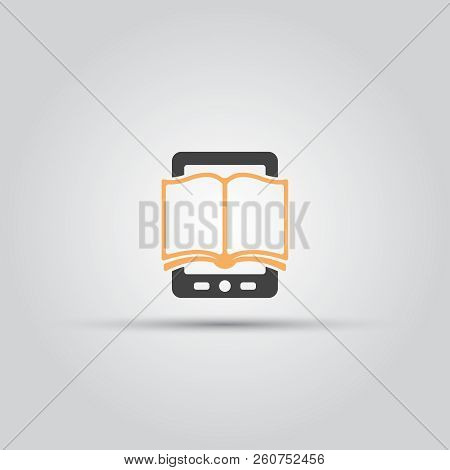 E Book Isolated Vector Icon, Book And Tablet Pc Or Book Reader