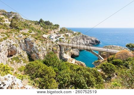 Apulia, Leuca, Italy, Grotto Of Ciolo - Country Road Bridge Of Grotto Ciolo