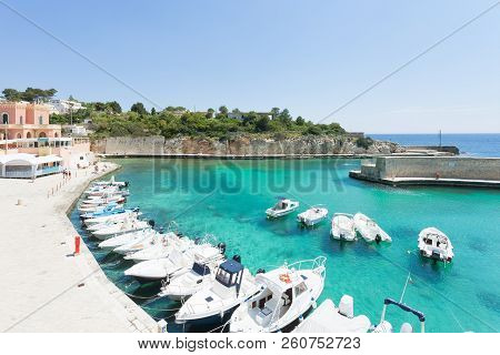 Apulia, Tricase Porto, Italy - Motor-boats At The Seaport Of Tricase Porto