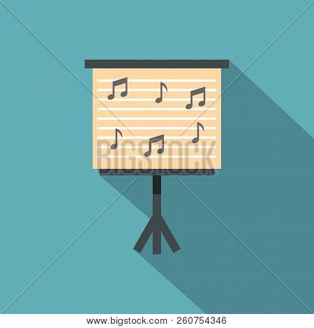 Music Stand With Piano Notes Icon. Flat Illustration Of Music Stand With Piano Notes Icon For Web Is