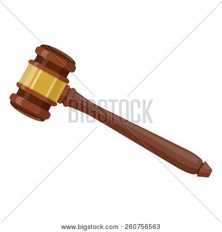 Wooden Judge Ceremonial Hammer Of The Chairman For Adjudication Of Sentences And Bills. Legal Law An