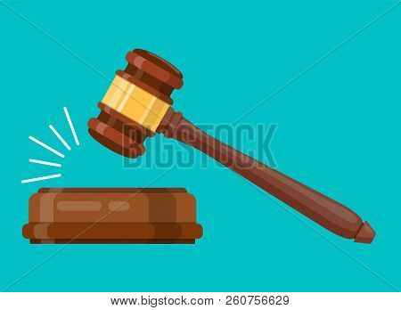 Judge Wood Hammer. Ceremonial Mallet For Auction, Judgment. Web Site Page And Mobile App Design. Vec