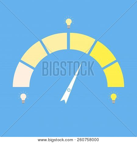 Indices Rate Idea Lightbulb. Indicator Creativity. Dull Lamp And Bright. Vector Idea Meter, Level Kp