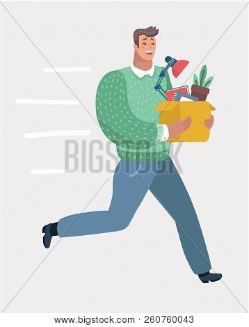 Vector Cartoon Illustration Of Style Of Successful Smiling Businessman Holding Cardboard Box With Wo