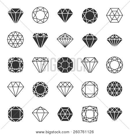 Diamond Or Brilliants Icons Set. Line And Silhouette Diamonds Vector Collection