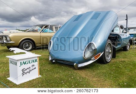 Tain, Scotland - June 17 2018: Classic Jaguar E Type At A Vintage Car Rally
