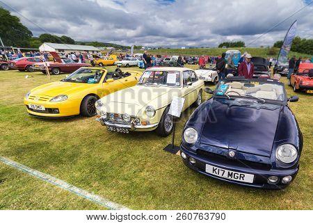 Tain, Scotland - June 17 2018: Mg Cars At A Vintage Car Rally