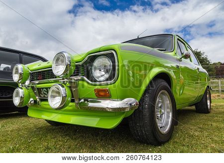 Tain, Scotland - June 17 2018: Classic Ford Escort At A Vintage Car Rally