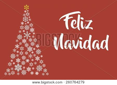 Feliz Navidad lettering template. Greeting card or invitation. Winter holidays related typograph . poster