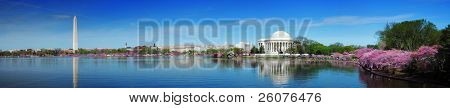 Washington DC panorama with Washington monument and Thomas Jefferson memorial with cherry blossom.