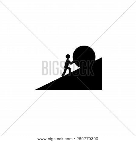 A Man Pushes A Stone Icon. Element Of Overcome Challenge Illustration. Premium Quality Graphic Desig