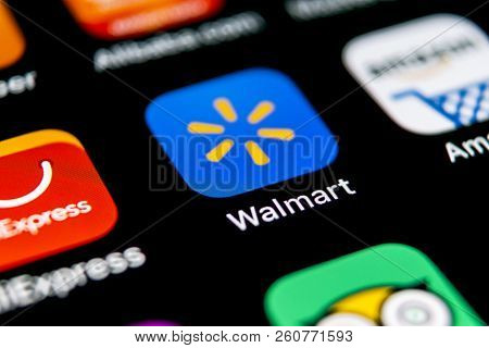 Sankt-petersburg, Russia, September 30, 2018: Walmart Application Icon On Apple Iphone X Screen Clos