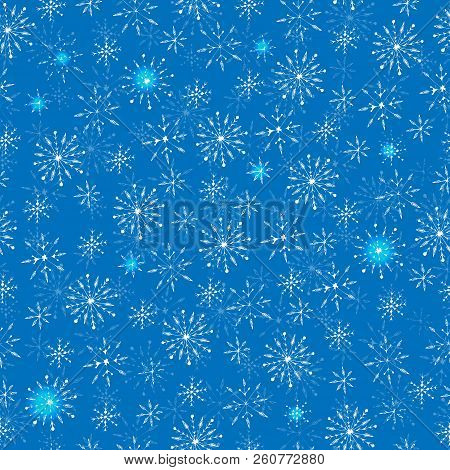 Winter Holiday Snowflake Seamless Pattern On The Blue Background