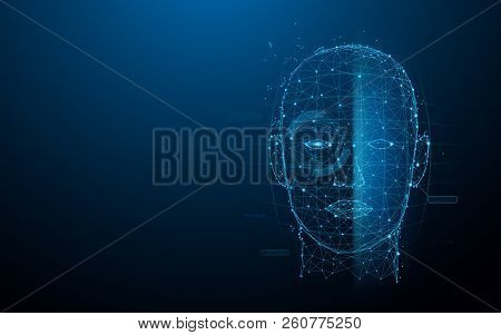 Biometric Technology Digital Face Scanning Form Lines, Triangles And Particle Style Design. Illustra