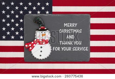 United States Of America Military Holiday Message, United States Of America Flag With A Black Chalkb