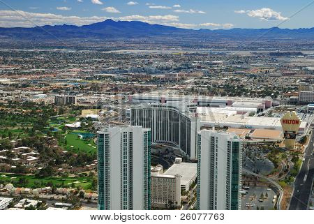 Las Vegas, Nevada - March 4, Las Vegas Skyline with hotels on strip., March 4, 2010 in Las Vegas, Nevada.