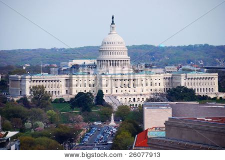 Washington DC aerial view with capitol hill building and street